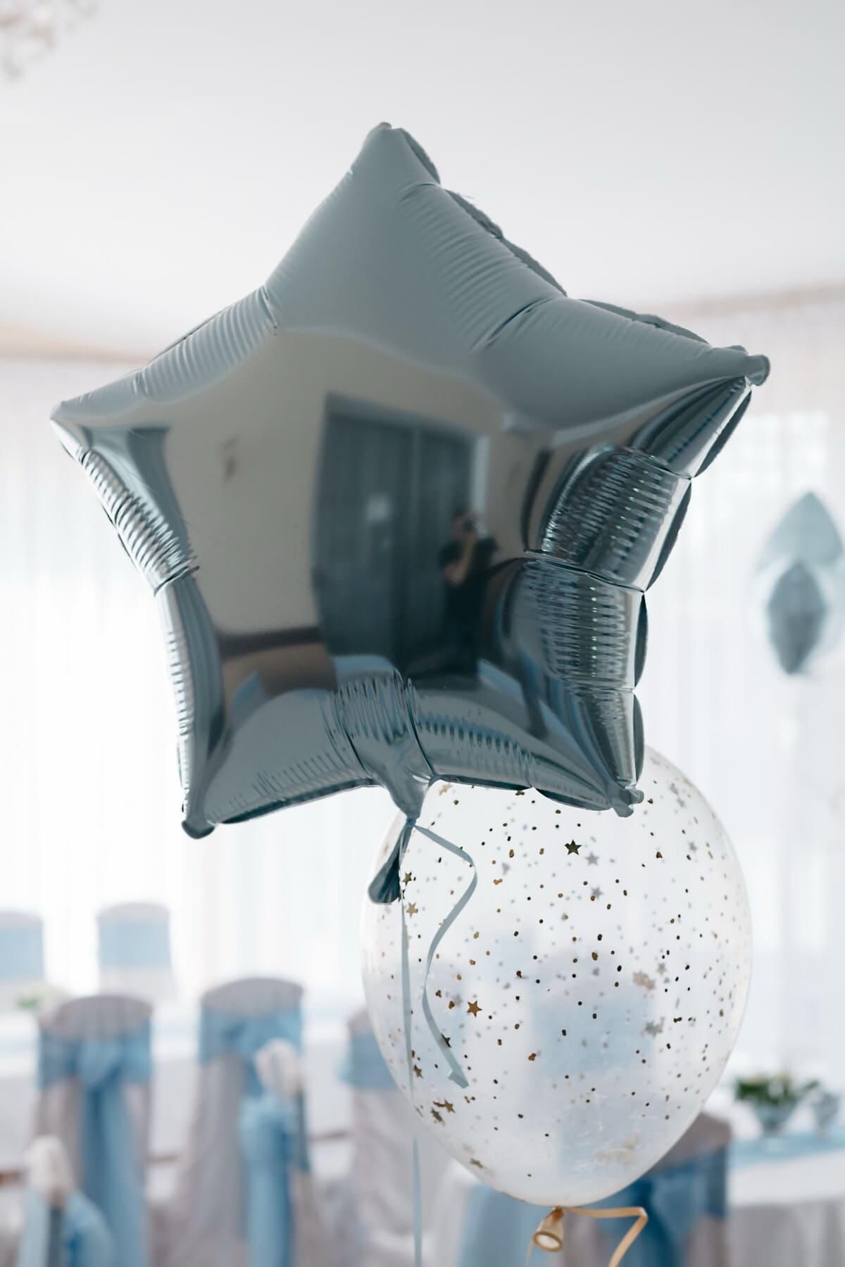 Partei, Geburtstag, Helium, Ballon, glänzend, Sterne, drinnen, Feier, Dekoration, dekorative