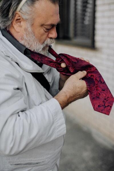 rouge, attacher, veste, gentilhomme, homme, Barbe, moustache, personnes âgées, gens, aîné