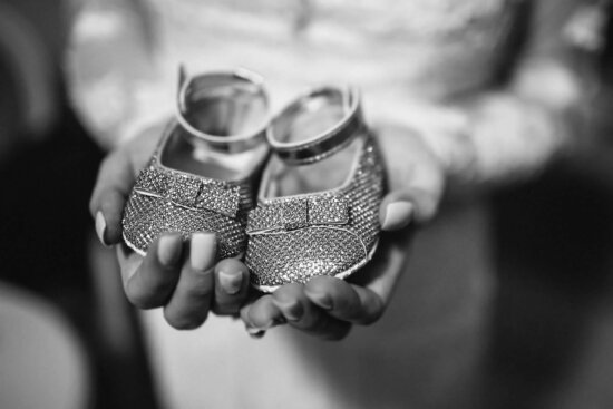 baby, shoes, mother, holding, hands, monochrome, hand, girl, black and white, woman