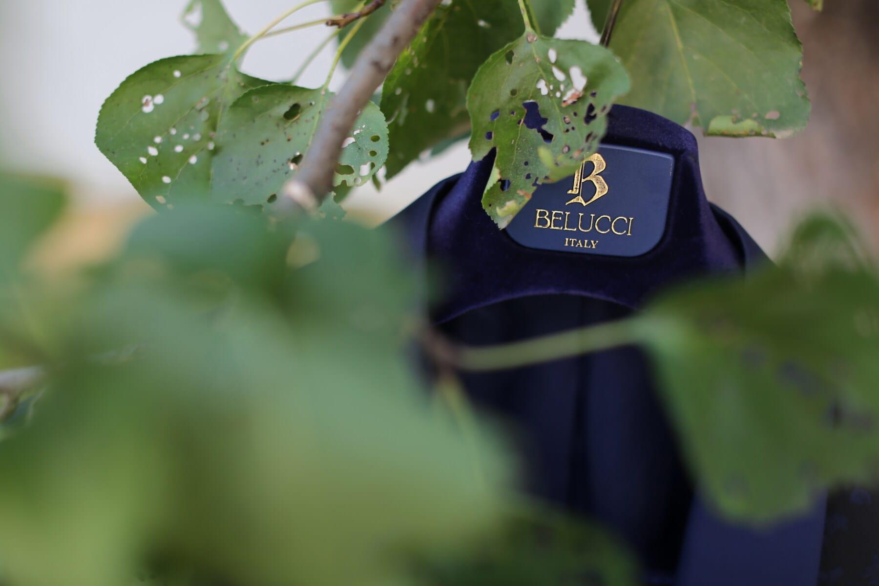 Belucci, italian, tuxedo suit, jacket, fancy, style, hanging, tree, leaf, outdoors