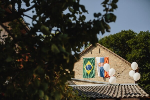 Brasil, Serbia, flag, balloon, rooftop, roofs, architecture, tree, home, house
