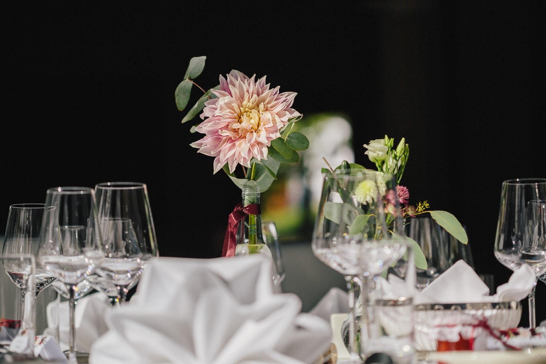 Essbereich, Esstisch, Anordnung, Blume, Blumenstrauß, Speise-, elegant, Wein, Empfang, Romantik