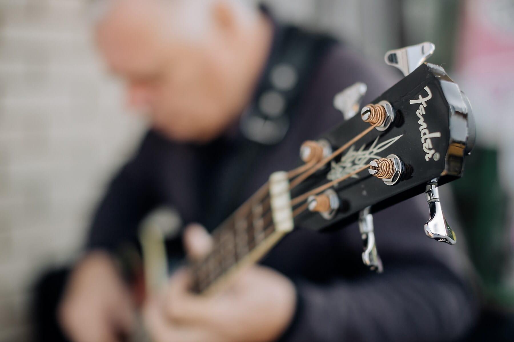 guitare, guitariste, fils, en acier inoxydable, fermer, chaîne, musique, musical, musicien, instrument