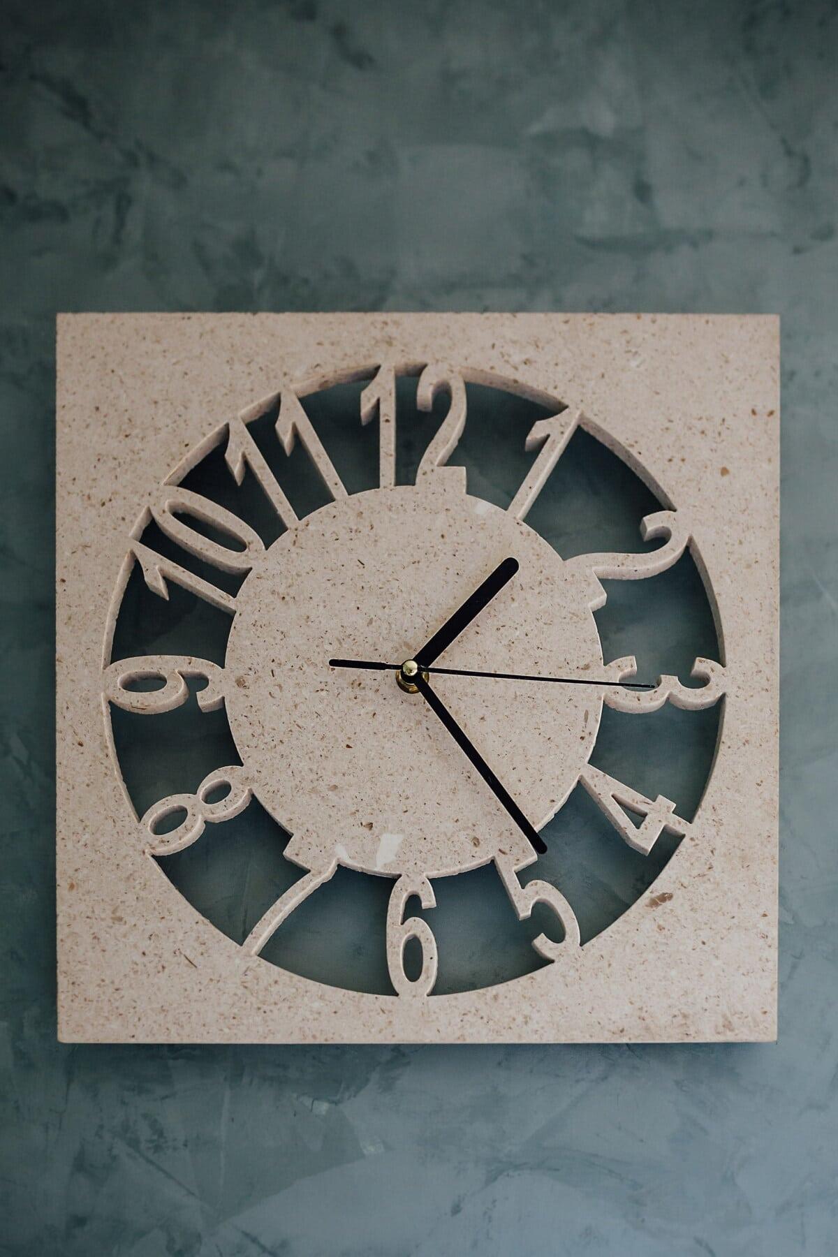 Analoguhr, Stein, Marmor, Interieur-design, Wand, Zeit, Lust auf, Uhr, Instrument, Retro