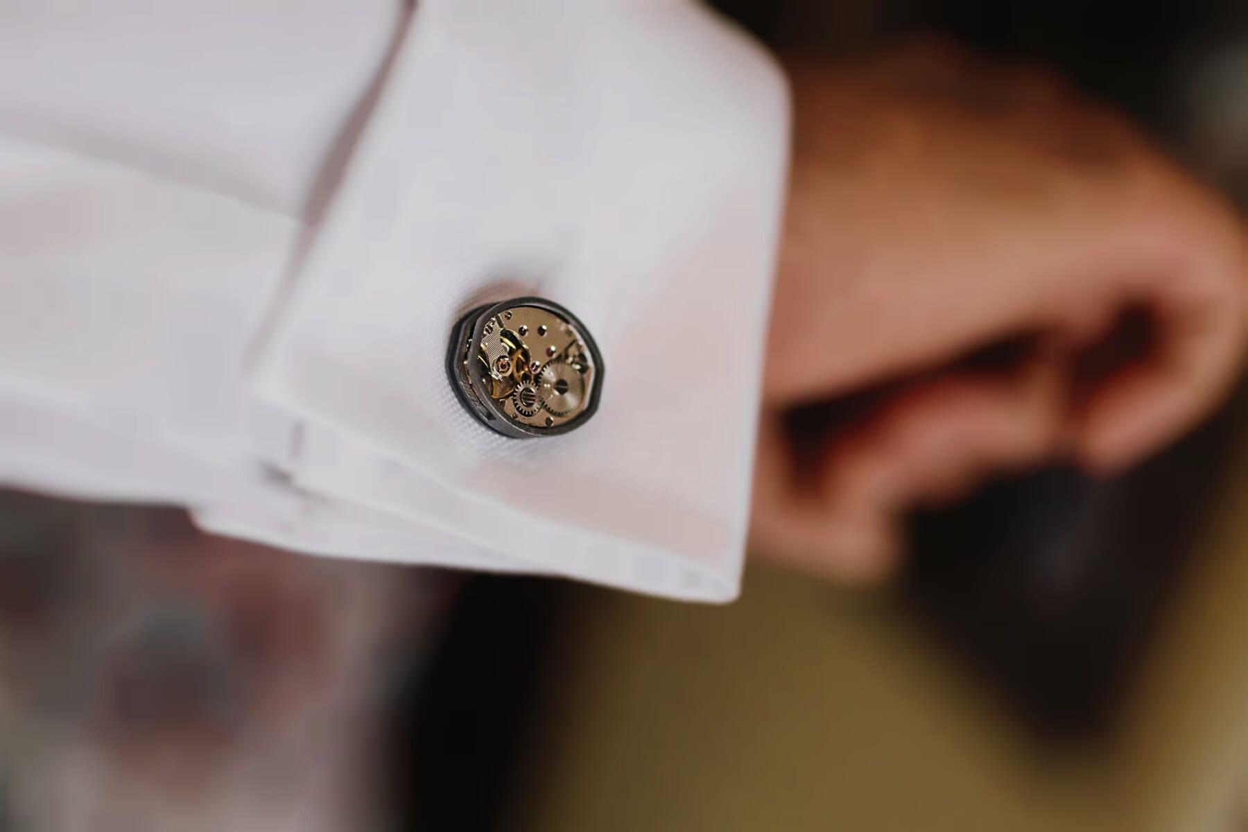 cuff, sleeve, mechanism, details, miniature, analog clock, white, accessory, close-up, hand