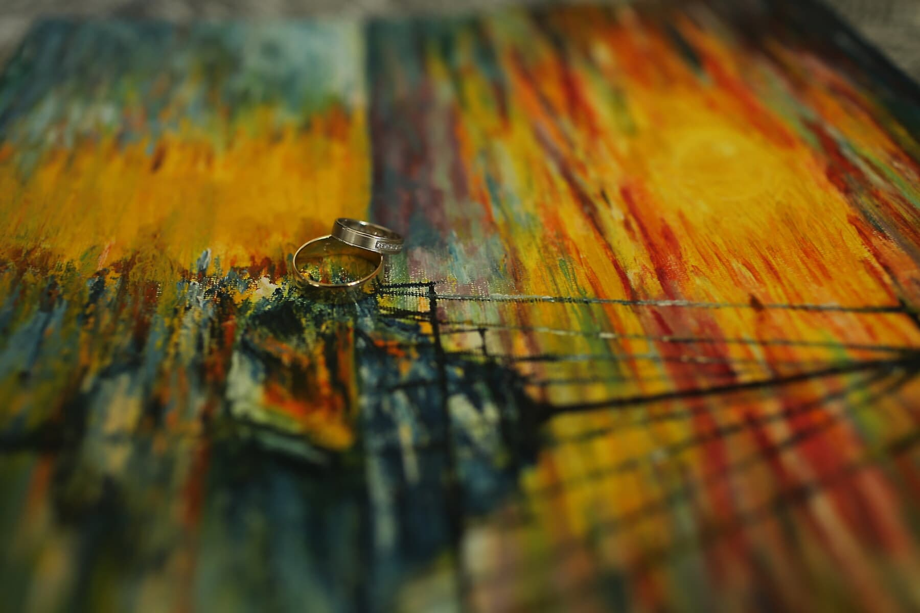 golden shine, rings, canvas, fine arts, colorful, art, painting, abstract, color, blur