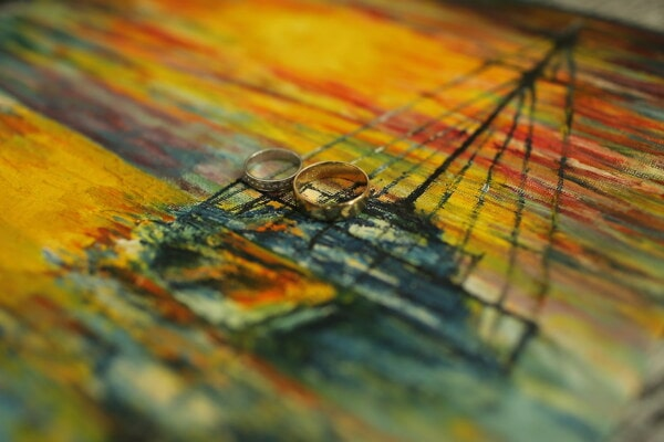 rings, gold, canvas, fine arts, colorful, texture, painting, art, abstract, color