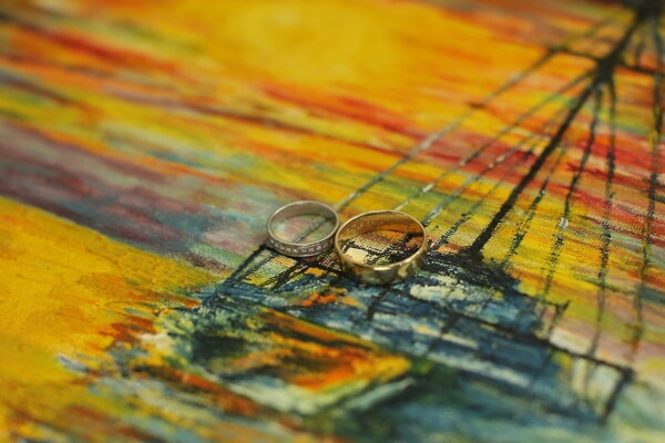 wedding ring, shining, gold, canvas, fine arts, colors, painting, creativity, art, design