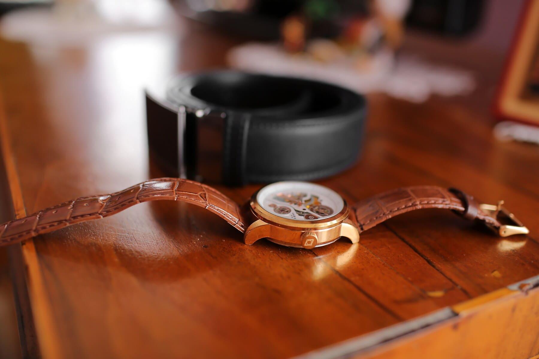 gold, analog clock, belt, leather, wood, still life, indoors, antique, old, retro