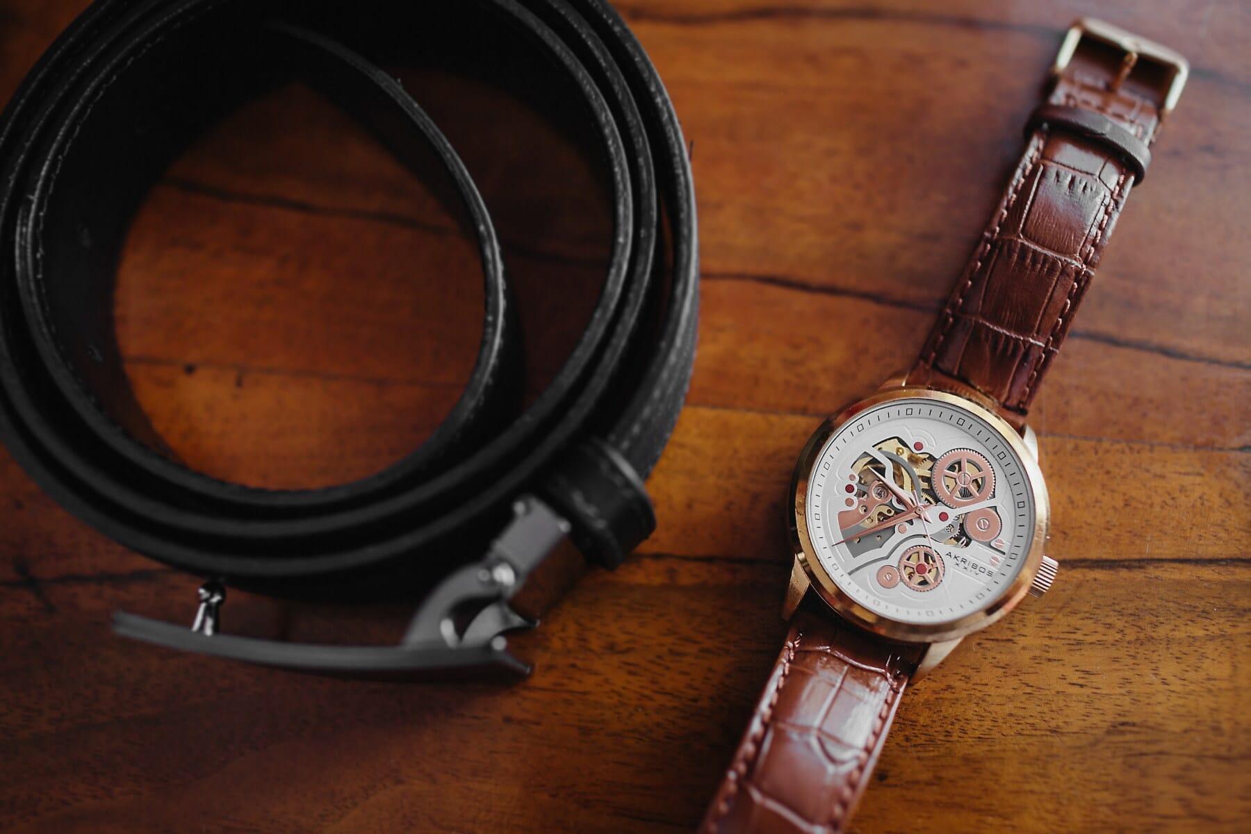 wristwatch, modern, belt, leather, light brown, wood, retro, old, vintage, time
