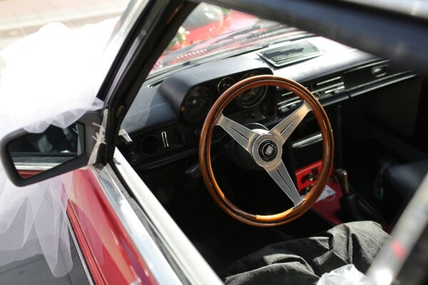 wooden, steering wheel, interior, sedan, car, oldtimer, dashboard, windshield, old style, old fashioned