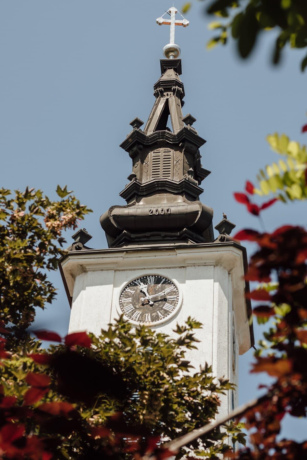 steeple, Silver, Croix, style architectural, baroque, tour, église, bâtiment, religion, architecture