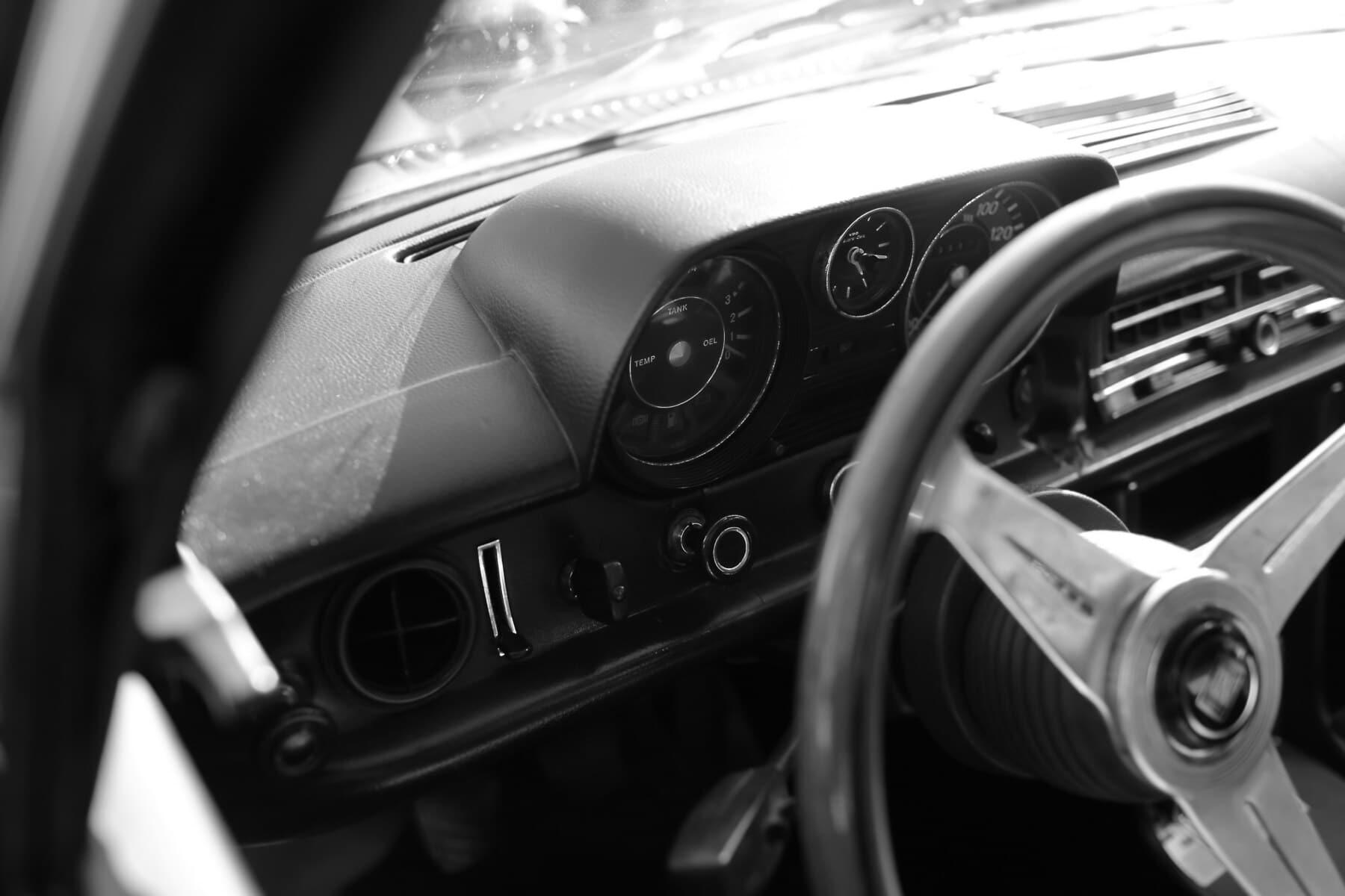dashboard, oldtimer, car, sedan, speedometer, control panel, gauge, steering wheel, vehicle, automobile