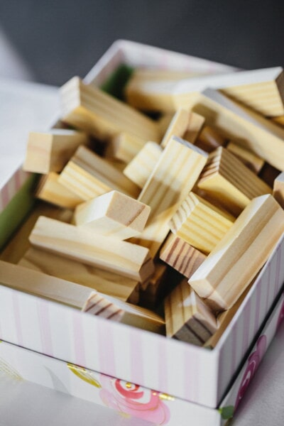 jenga game, sticks, wooden, toys, box, rectangle, shape, stick, indoors, wood