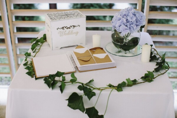 wedding, book, hardcover, interior design, still life, leaf, flower, nature, paper, candle