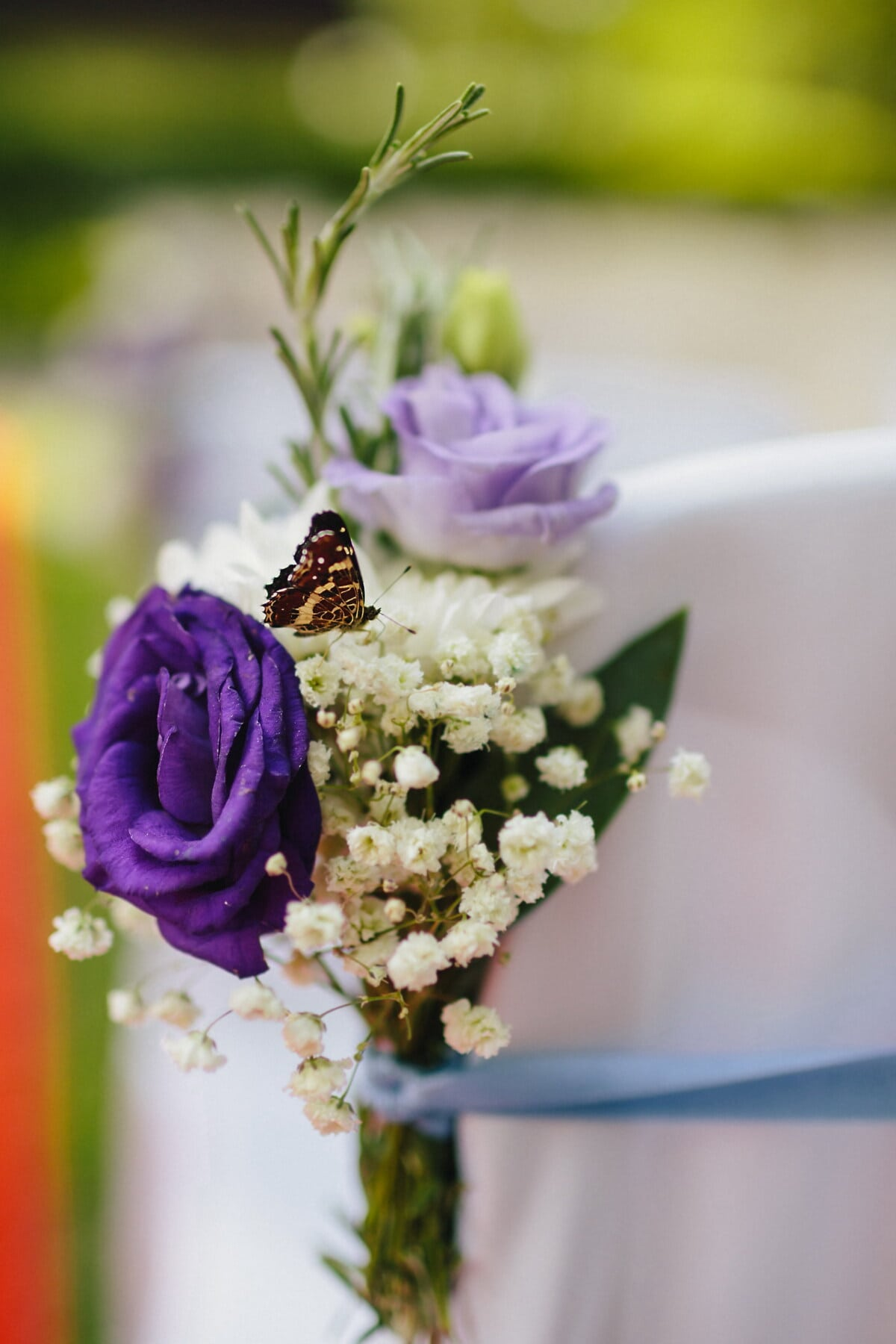 wedding bouquet, butterfly, decoration, purple, rose, flower, bouquet, wedding, flowers, blur