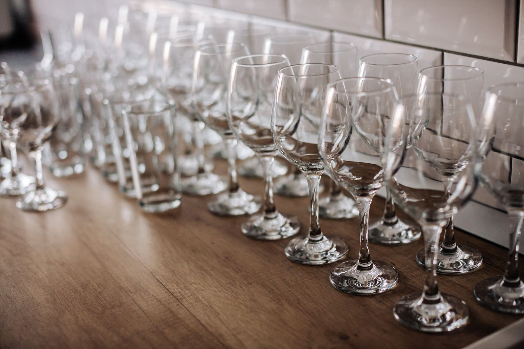 glass, empty, crystal, wine, transparent, table, restaurant, drink, party, dining
