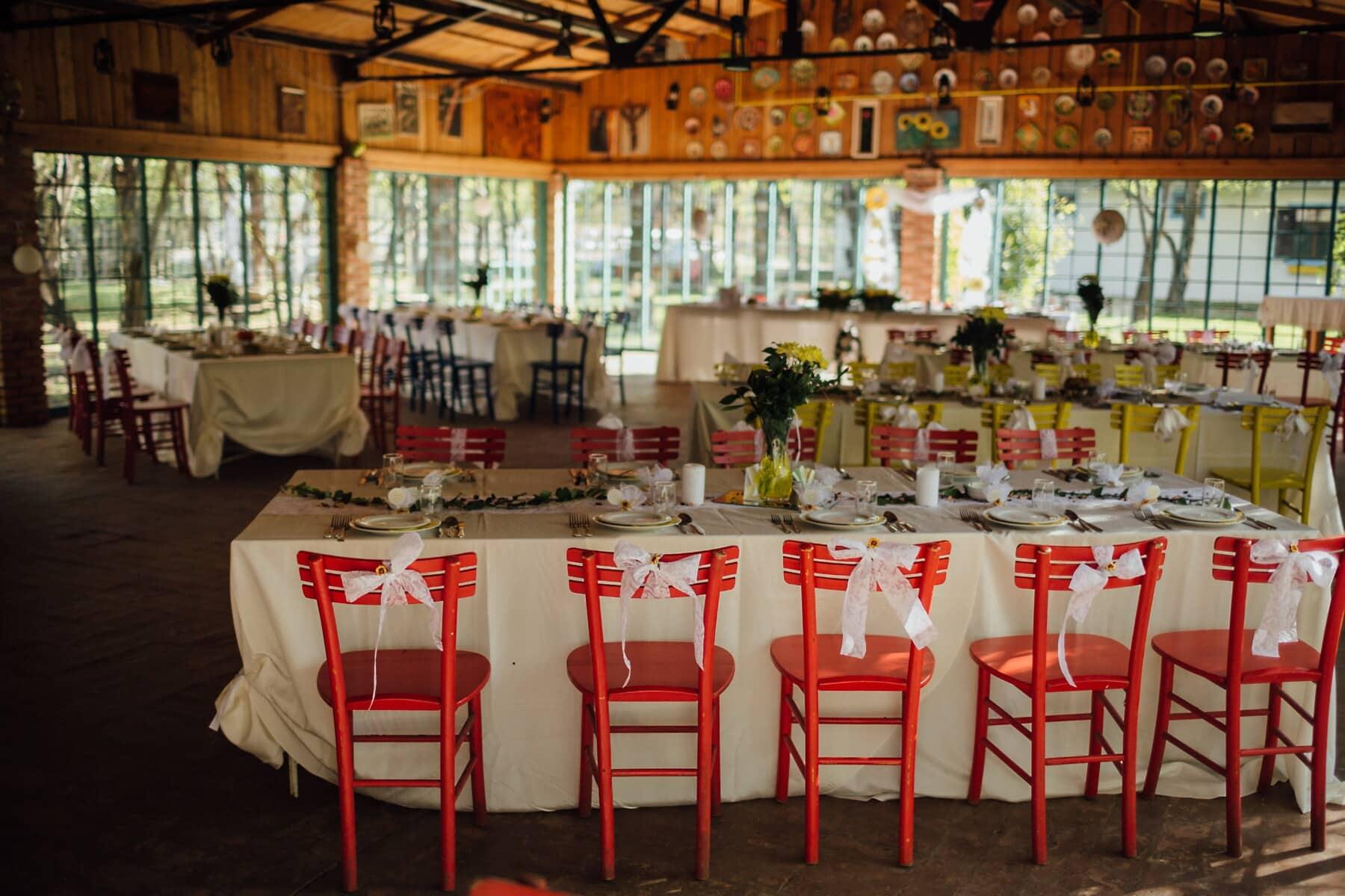 vintage, meubles, salle de mariage, restaurant, vide, à manger, chaise, siège, bâtiment, cafétéria