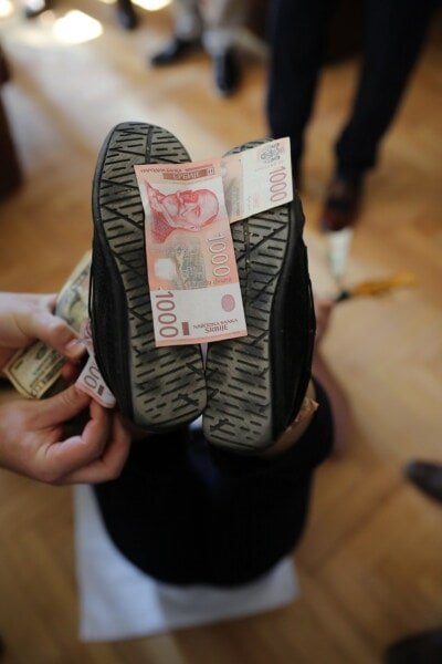 banknote, Serbia, shoes, celebration, party, funny, money, hand, indoors, people