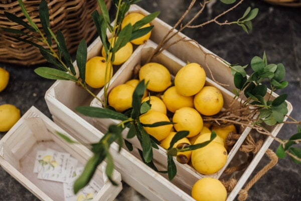 marketplace, lemon, boxes, wooden, wicker basket, citrus, fruit, leaf, food, produce