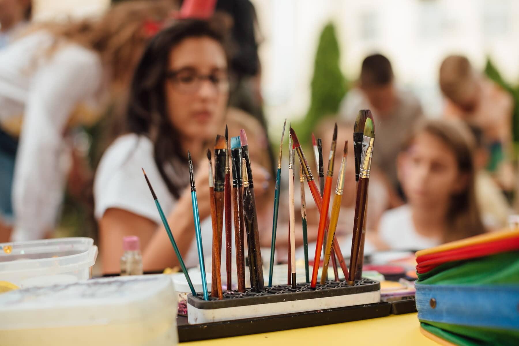Pinsel, Malerei, Maler, Bürsten, Schulkind, Hand-Werkzeug, Kunst, Schule, Pinsel, Bleistift