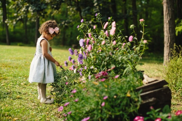flower garden, adorable, pretty girl, girl, fancy, young, child, dress, enjoying, hairstyle