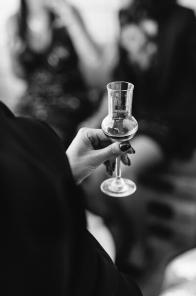 glass, wine, nail polish, woman, hand, monochrome, alcohol, people, drink, black and white