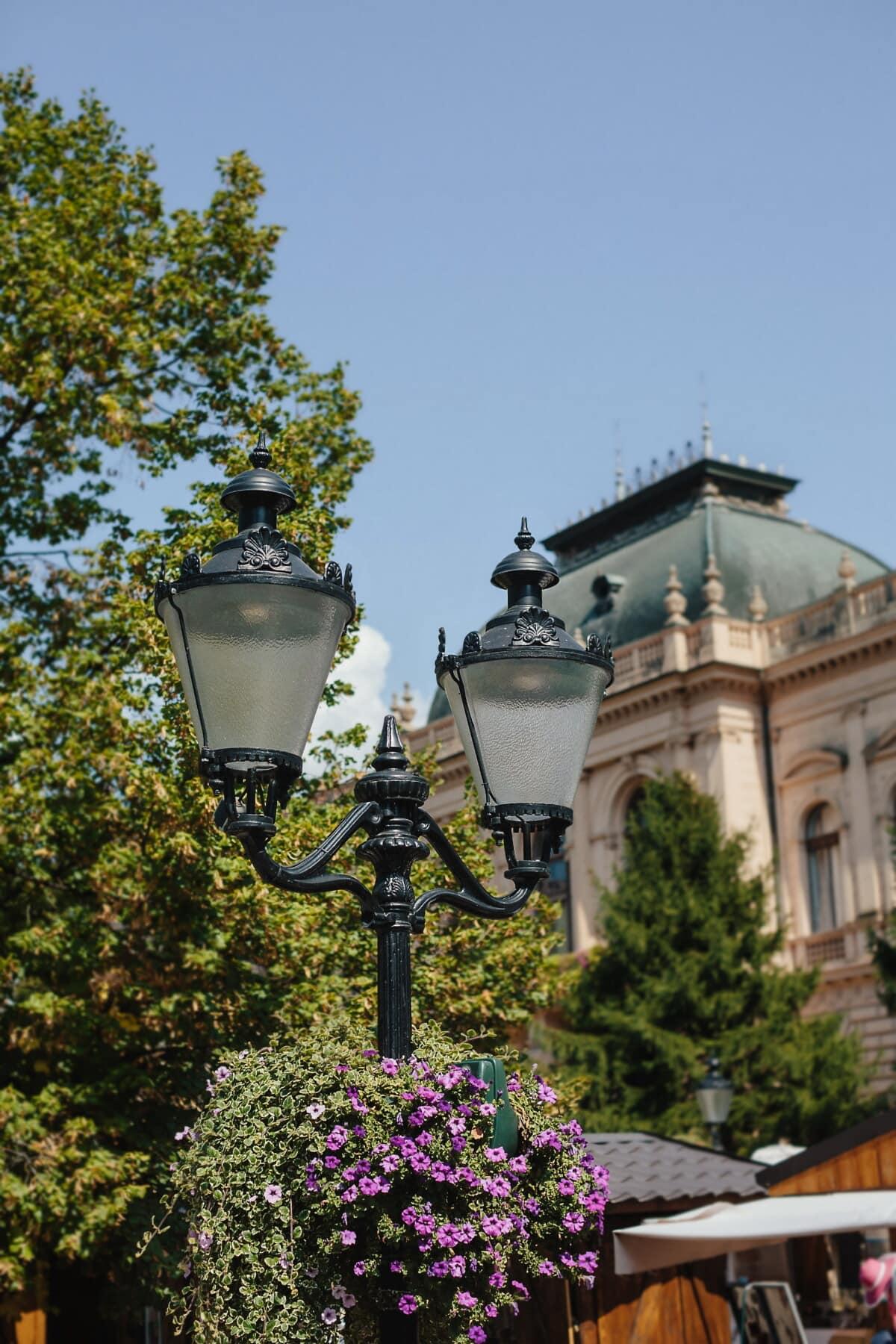 Barock, Stil, Laterne, Straße, Architektur, Gebäude, Lampe, im freien, Stadt, alt