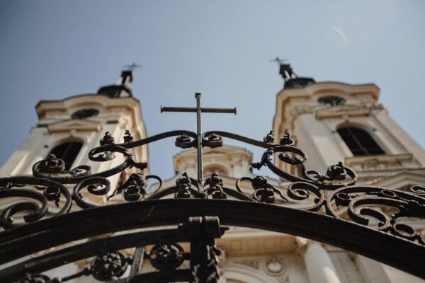 baroque, style, church tower, iron, cast iron, fence, metal, cross, architecture, old