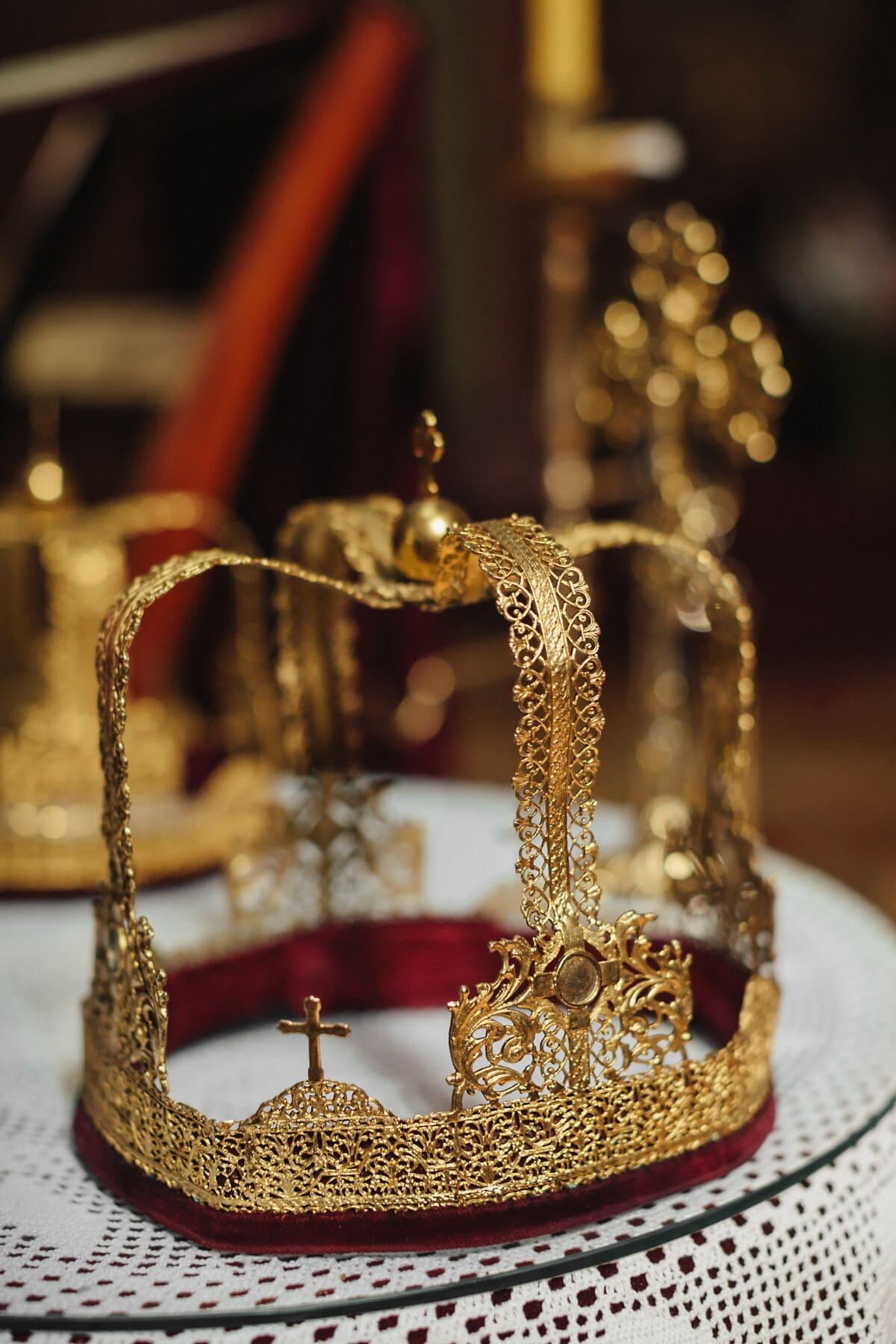 gold, crown, royalty, kingdom, luxury, shining, jewelry, decoration, elegant, traditional