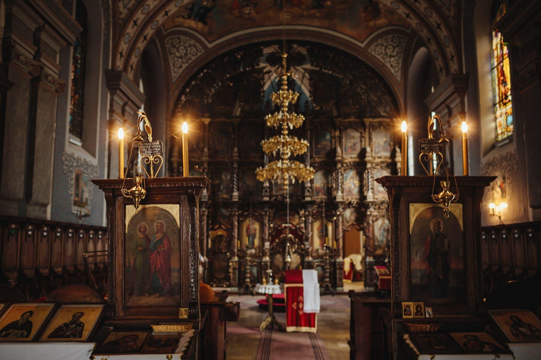orthodoxe, autel, aux chandelles, bougies, décoration d'intérieur, spiritualité, Byzantine, icône, Saint, architecture