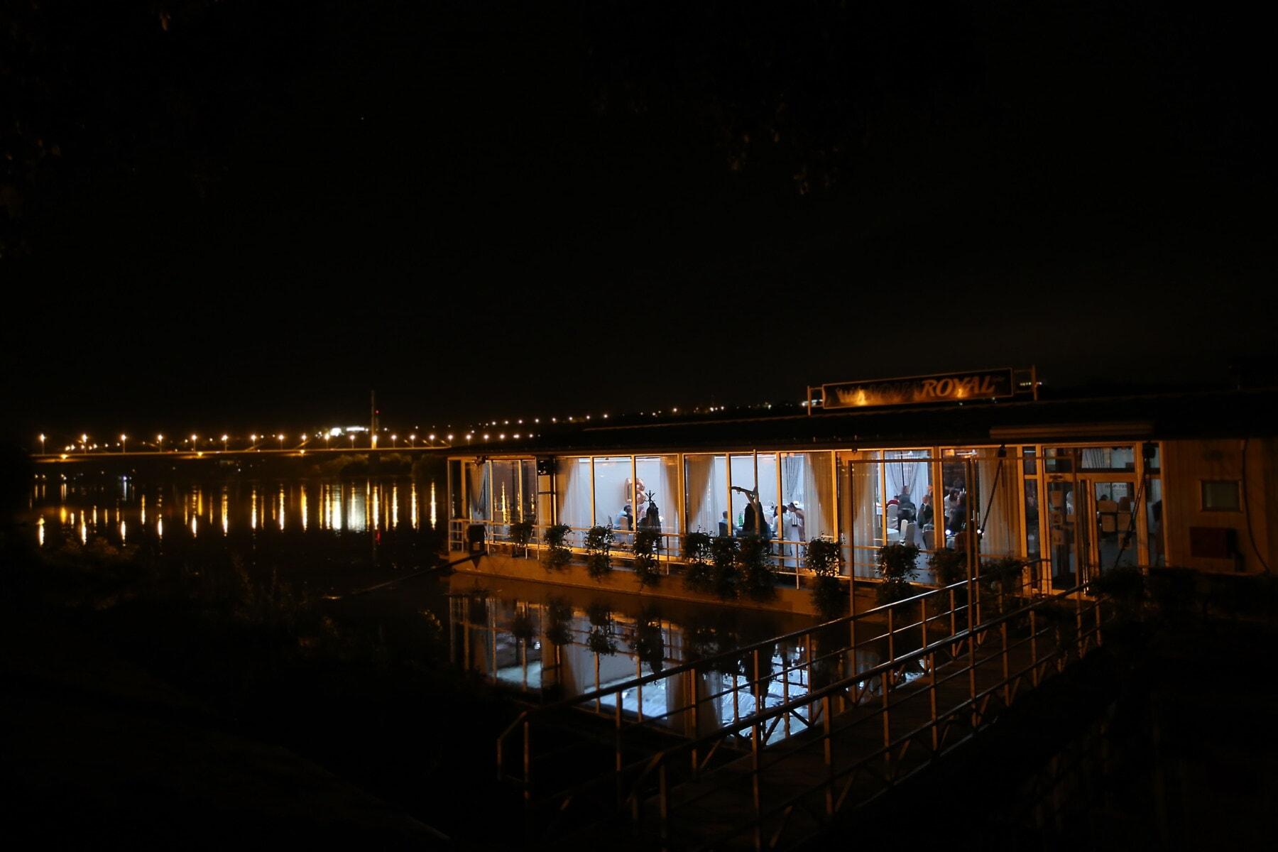 nightclub, night, nighttime, darkness, cityscape, riverbank, river, water, reflection, light