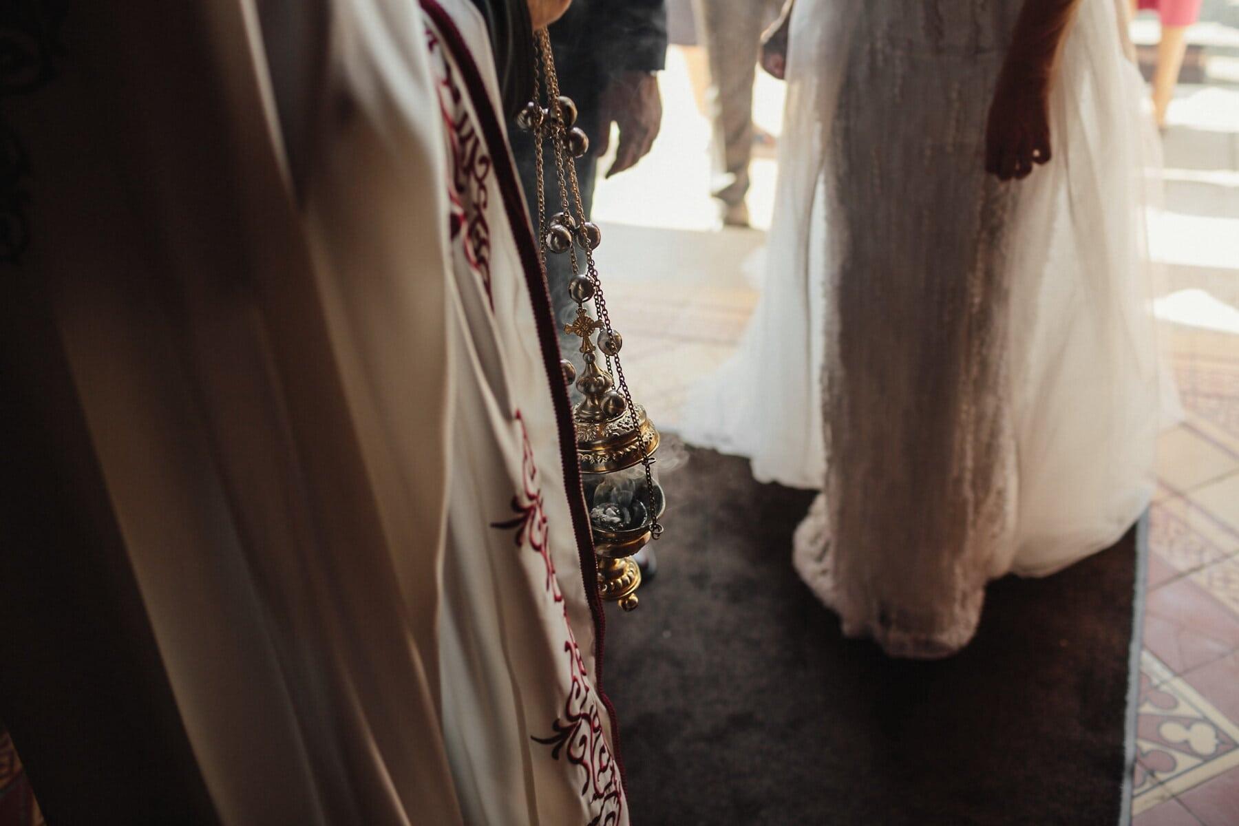 prêtre, orthodoxe, cérémonie, la mariée, religieux, robe de mariée, mariage, gens, rue, femme
