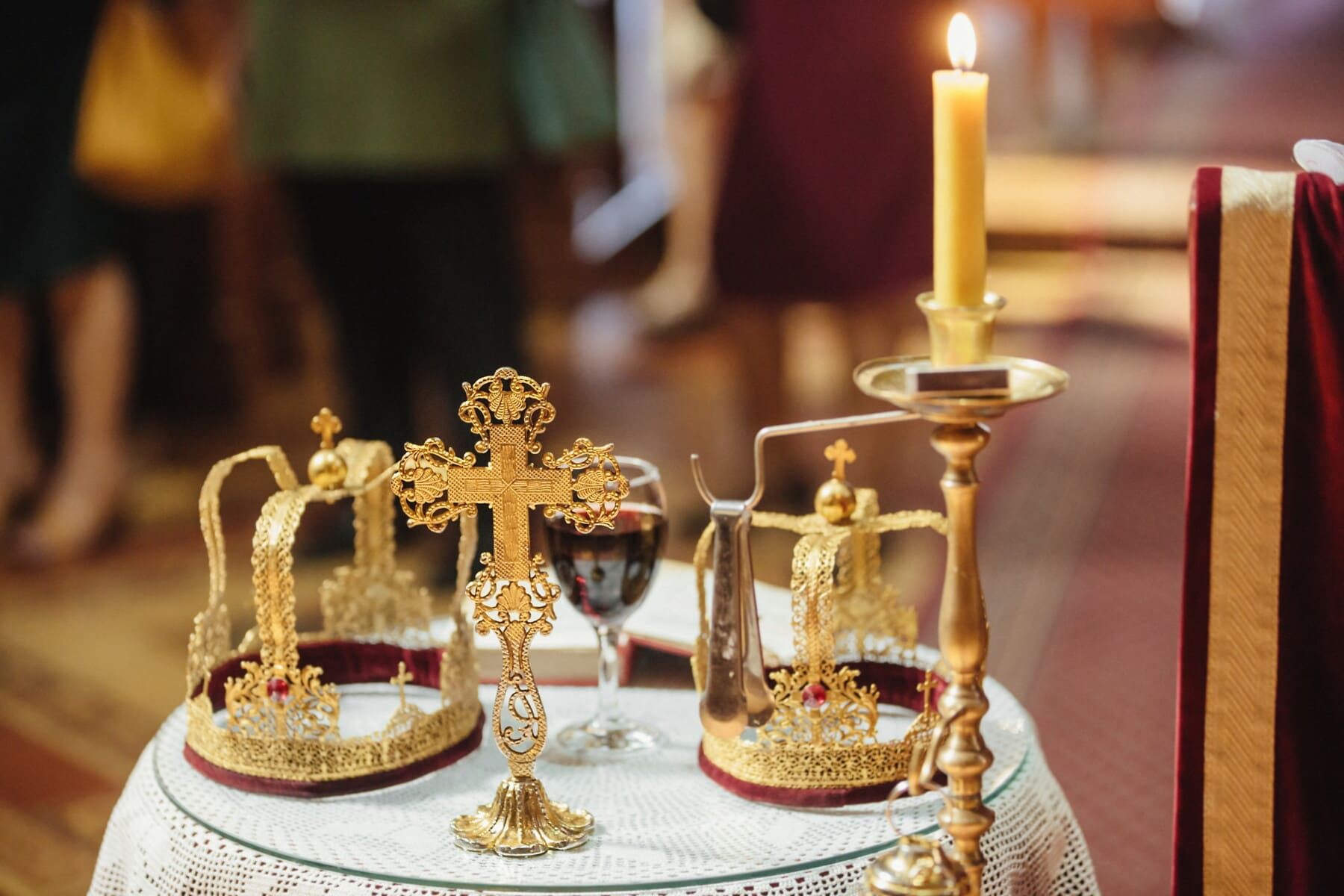 crown, gold, cross, candlestick, candle, religion, royalty, baptism, coronation, luxury