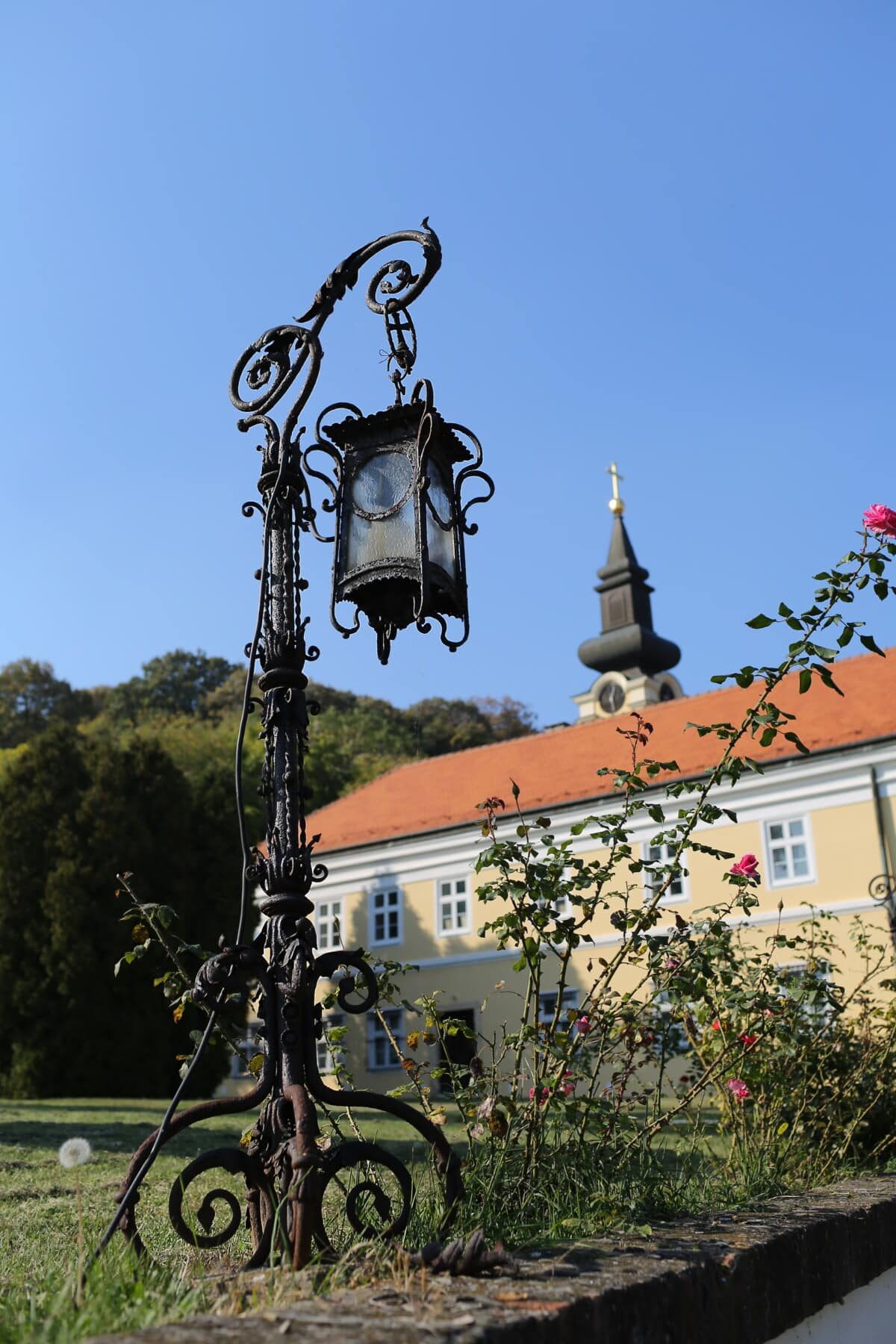 fait main, fer de fonte, lanterne, démodé, fer, baroque, église, architecture, bâtiment, vieux