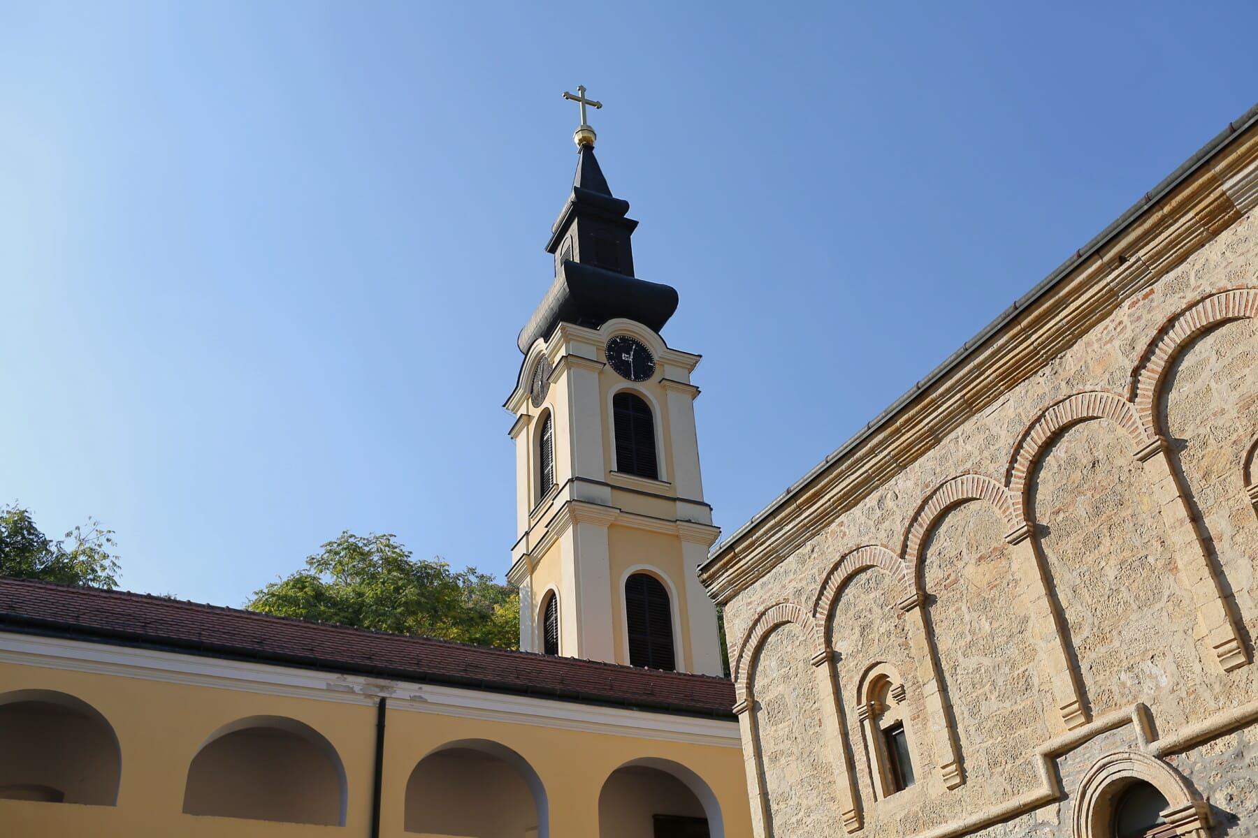 steeple, monastère, mur de Pierre, mur, arrière-cour, orthodoxe, style architectural, résidence, bâtiment, religion