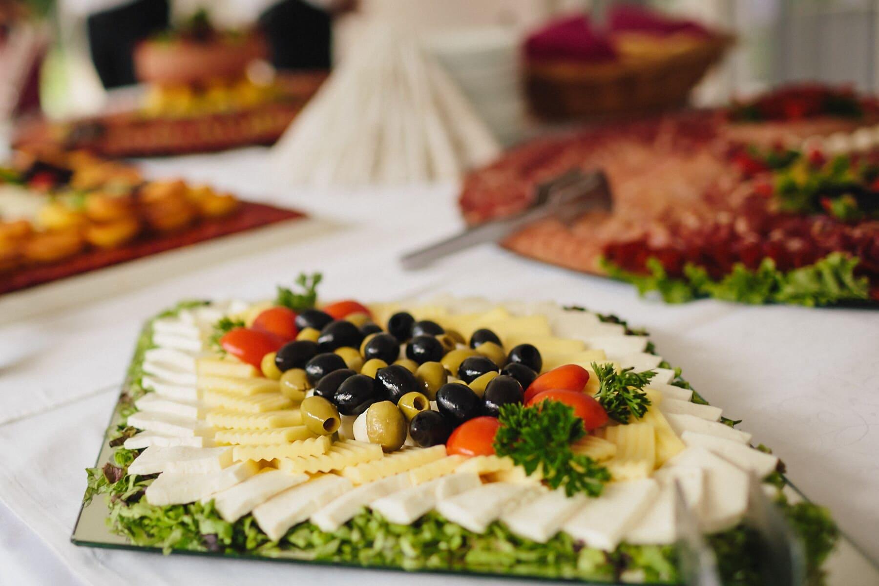 olive, noir, fromage, mozzarella, plaque, salade, plat, dîner, légume, apéritif
