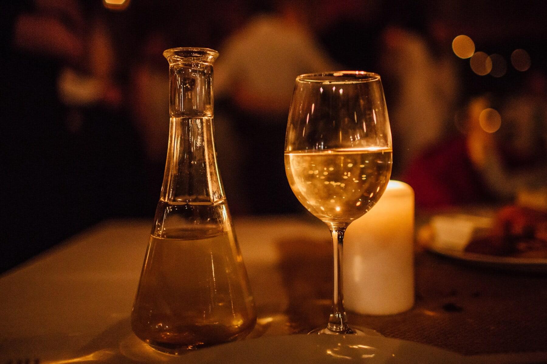 white wine, bottle, nightlife, vintage, alcohol, drink, candles, candlestick, wine, beverage