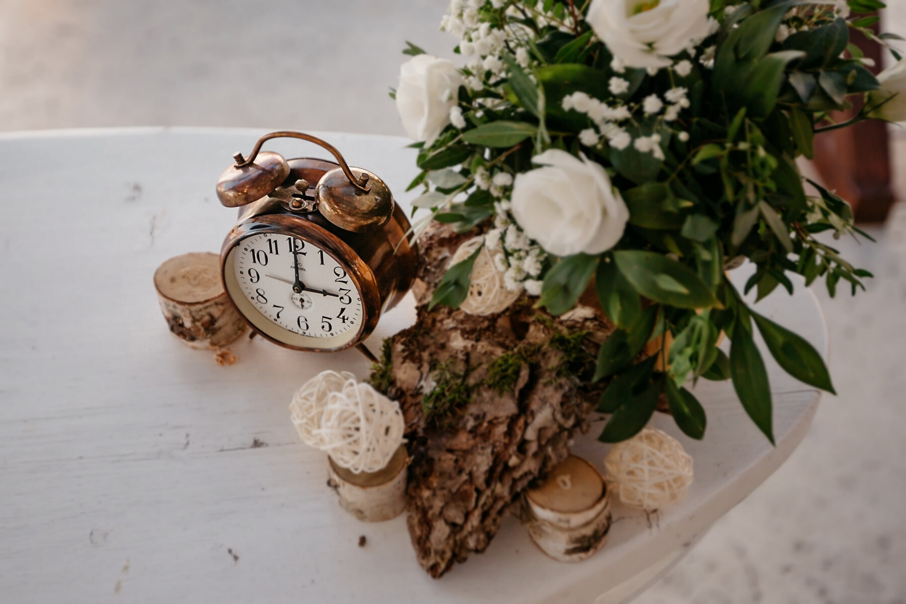 copper, alarm clock, analog clock, mechanism, clock, time, still life, flower, leaf, nature