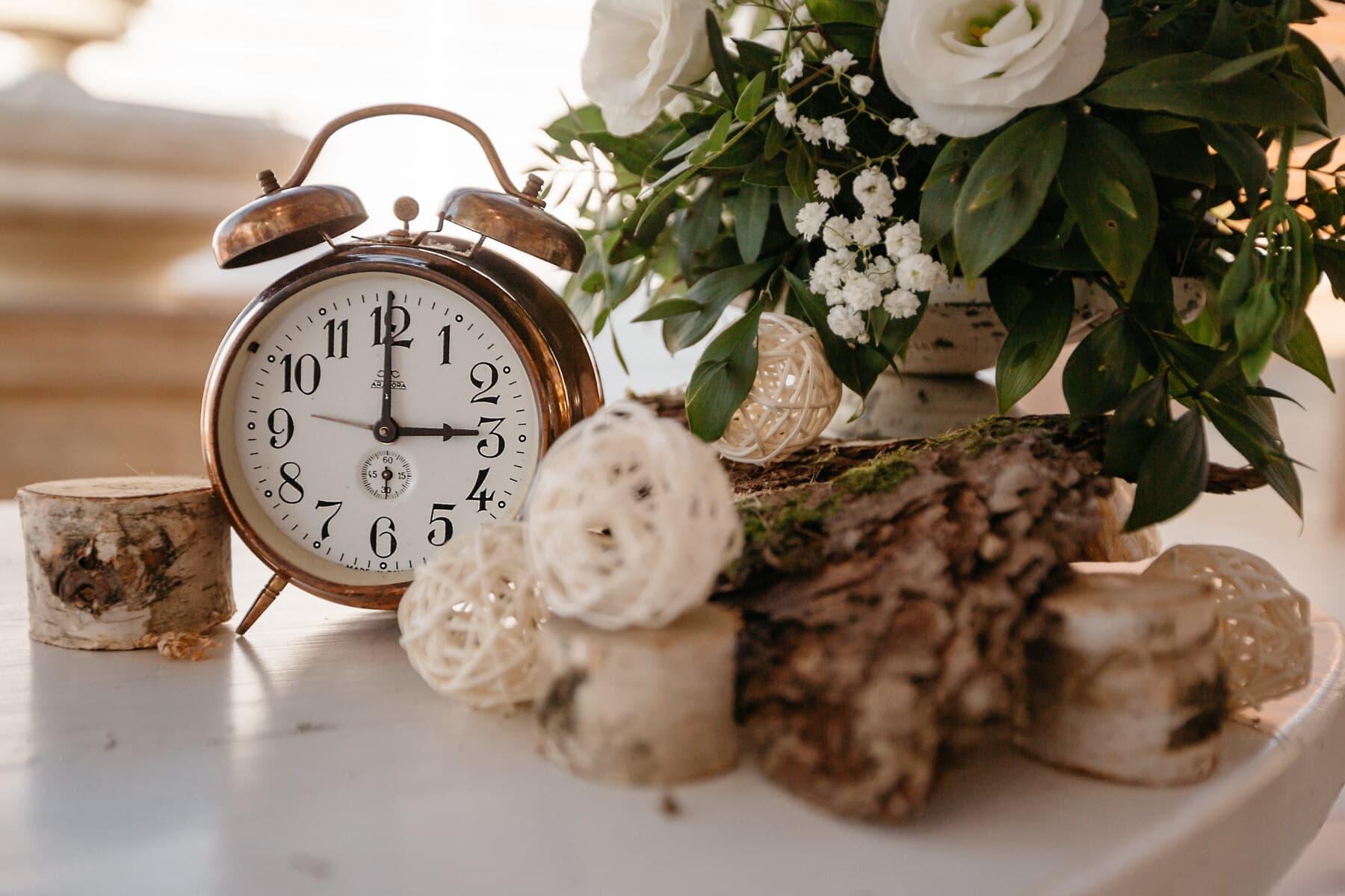 vintage, cloche, horloge analogique, cuivre, Metal, antiquité, temps, minuterie, alarme, horloge