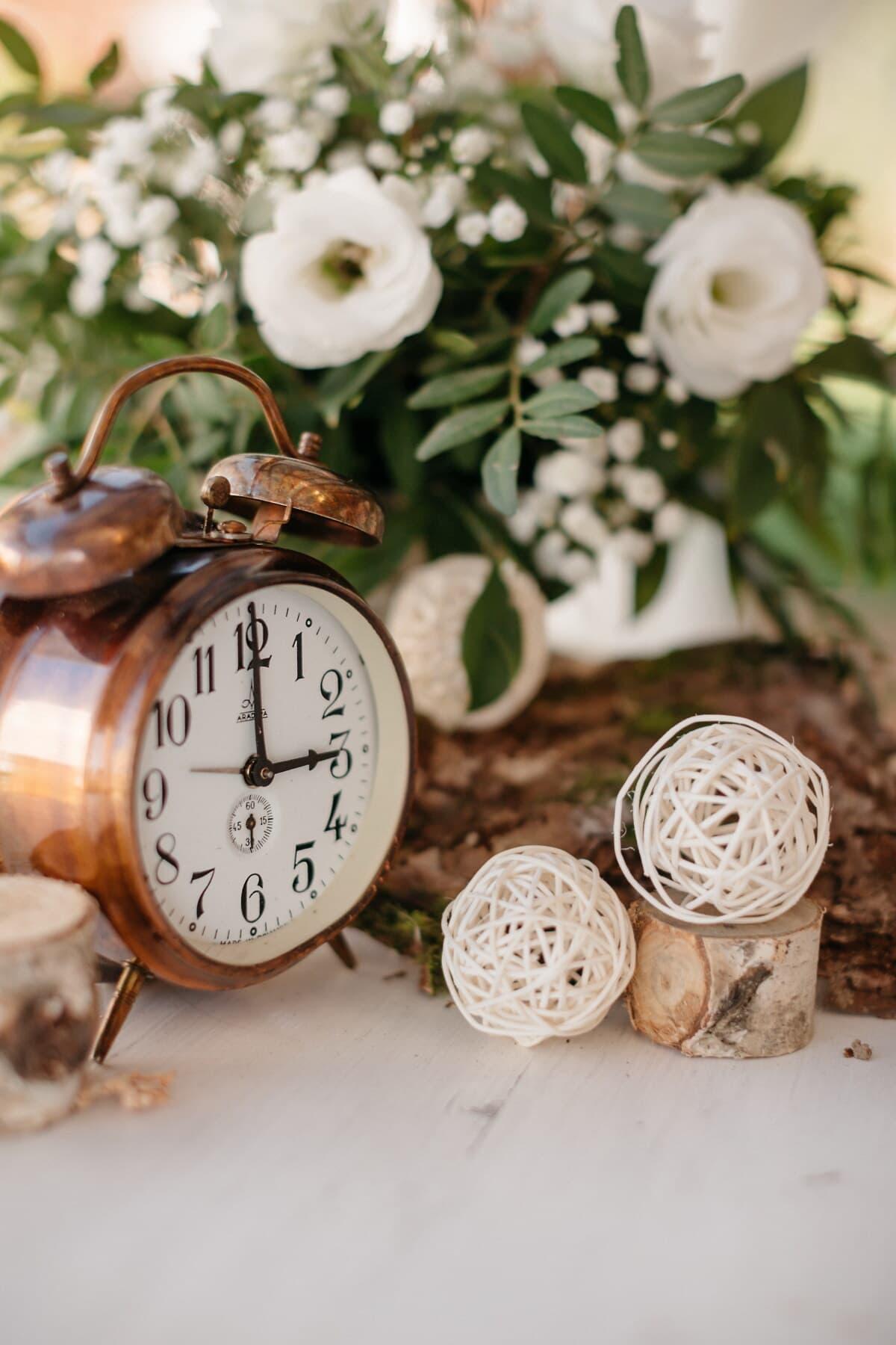 cuivre, horloge analogique, vintage, temps, objet, horloge, nature, nature morte, bois, Retro