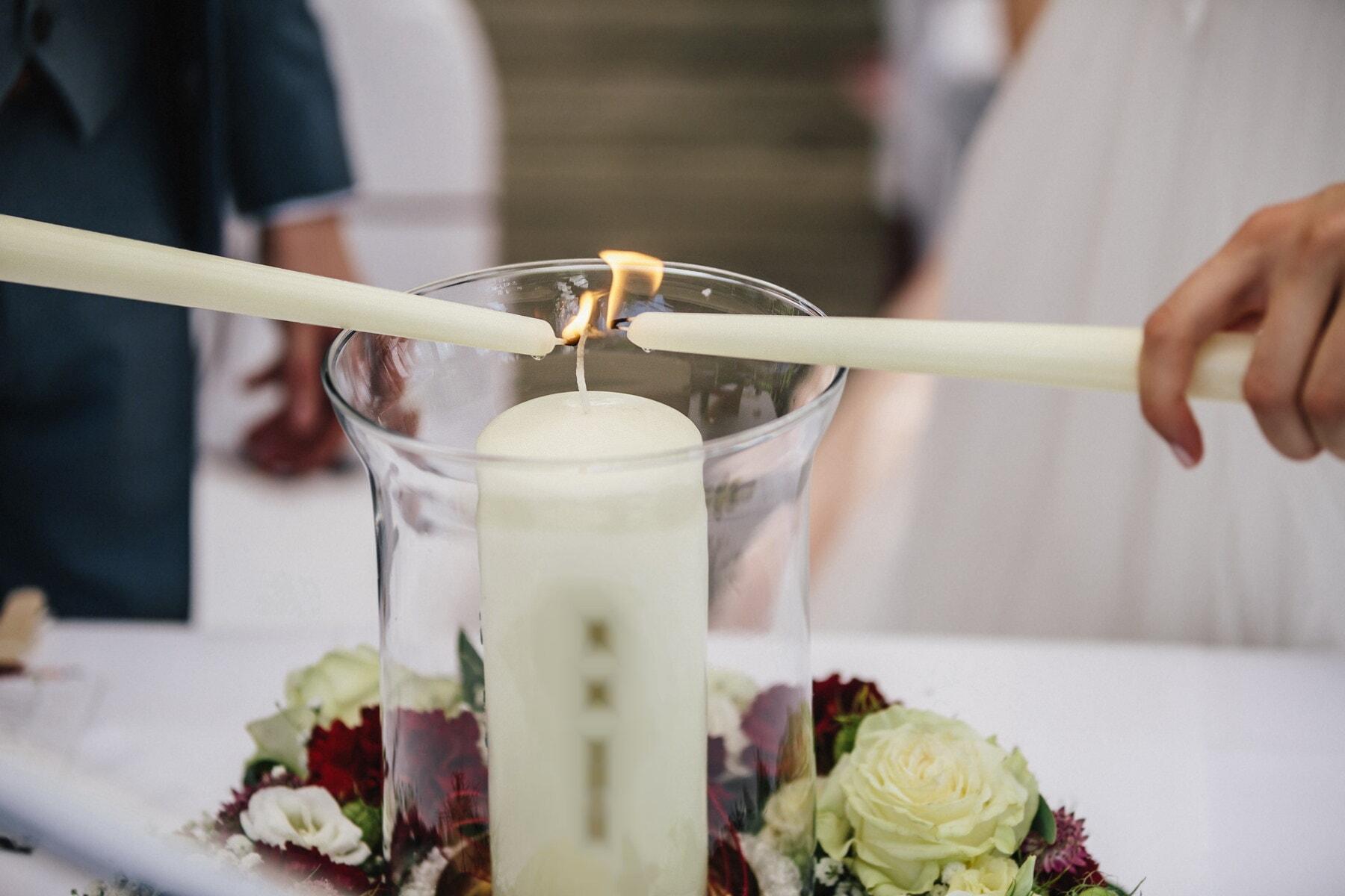 aux chandelles, flamme, blanc, bougies, romantique, mains, élégant, mariage, femme, amour