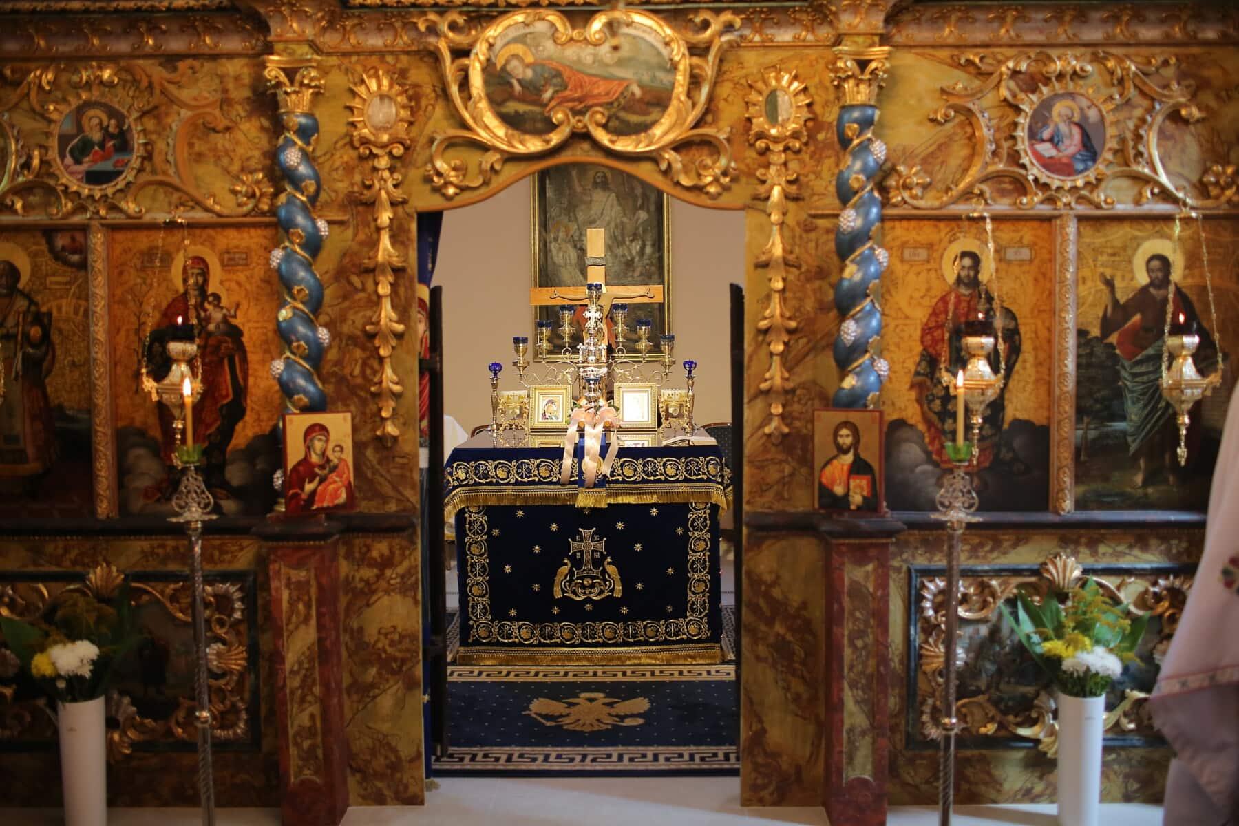Altar, orthodoxe, Ornament, mittelalterliche, Christentum, religiöse, Innendekoration, Interieur-design, Heilige, Kirche