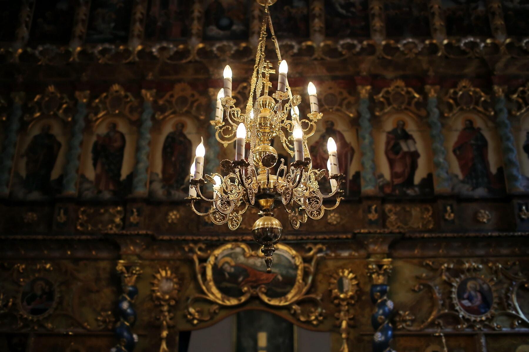 goldener Glanz, orthodoxe, Kronleuchter, Schatten, Altar, Kirche, Architektur, Religion, Skulptur, Kerze
