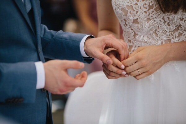 wedding, holding hands, husband, wife, woman, groom, bride, man, love, fashion