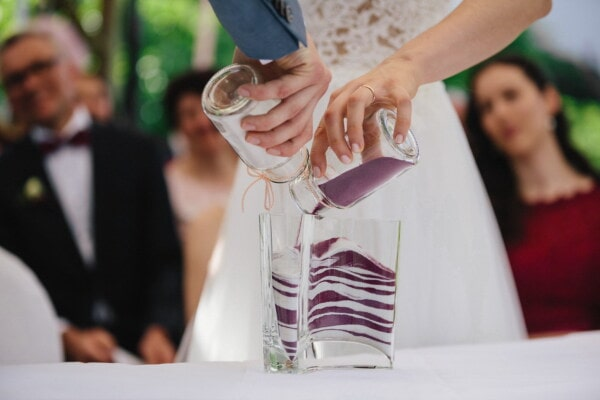glass, bottles, colors, sand, togetherness, man, bride, wedding, groom, woman