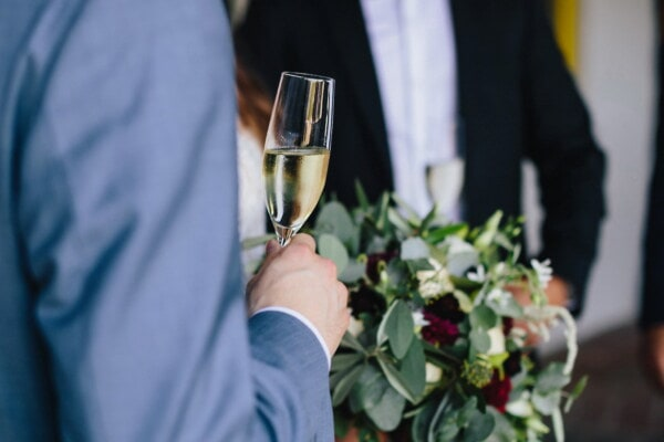 man, holding, wine, white wine, champagne, glass, event, celebration, alcohol, groom