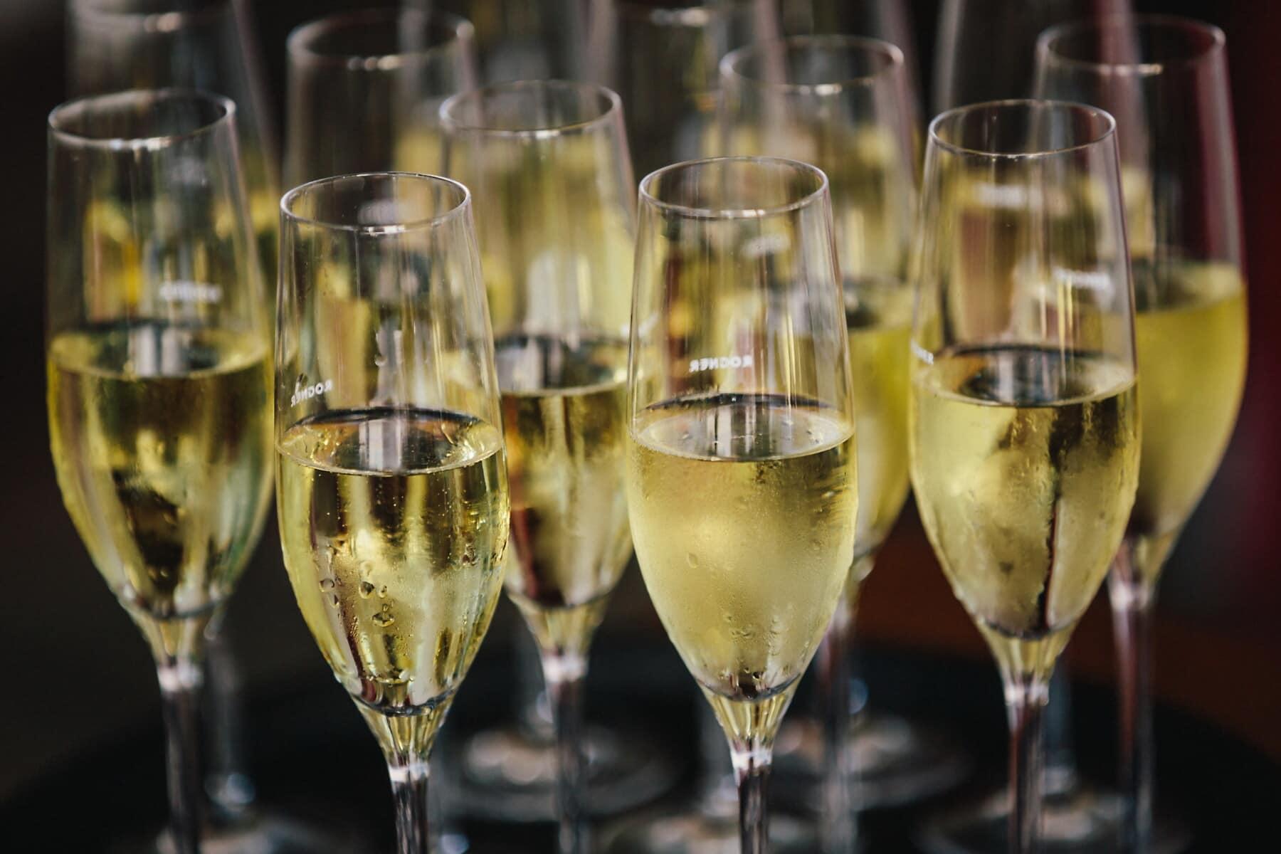 champagne, vin blanc, crystal, verre, de nombreux, boisson, alcool, anniversaire, célébration, vin