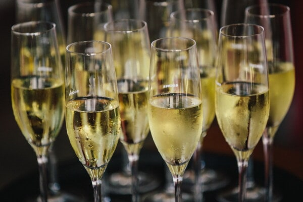 champagne, white wine, crystal, glass, many, drink, alcohol, anniversary, celebration, wine