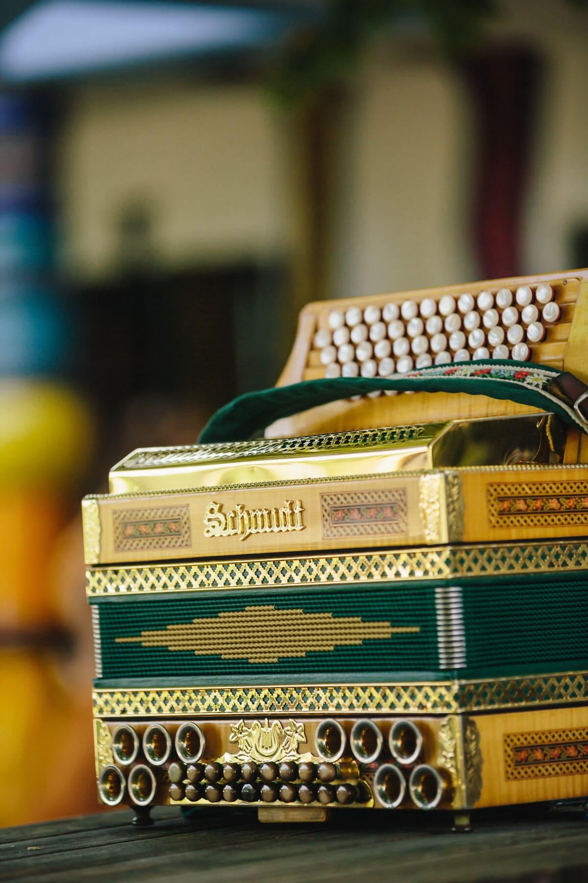 accordéon, nostalgie, vintage, instrument, musique, éclat doré, brillante, brun jaunâtre, à l'intérieur, Retro